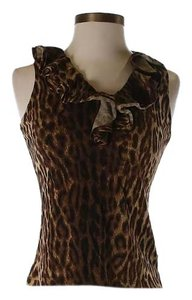 Ralph Lauren Ruffle Casual Stretch Work Top Animal print
