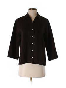 Chico's Jacket Linen Casual Designer Button Down Shirt brown