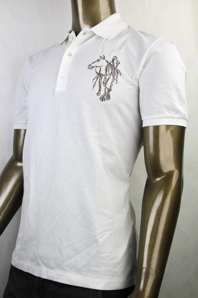 97f59a78750 Gucci White New Men s Slim Fit Embroidered Horse Polo Top 3xl 338567 9000  Shirt Image 5. 123456