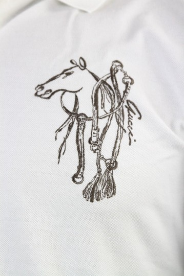 Gucci White New Men's Slim Fit Embroidered Horse Polo Top 3xl 338567 9000 Shirt Image 3
