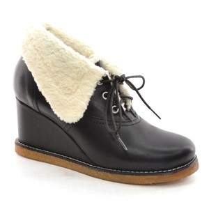 swedish hasbeens Platform Wedge Foldback black Boots