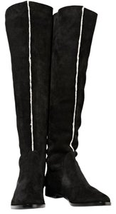Sergio Rossi Shearling Suede black white trim Boots