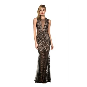 Luxxel Mesh Lace Mermaid Gown Dress