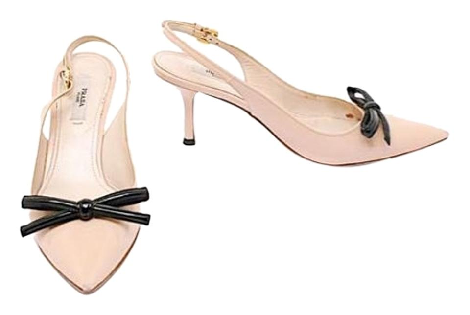 22962913403 Prada Nude with Black Patent Leather Slingback W Bow Heel Pumps Size ...