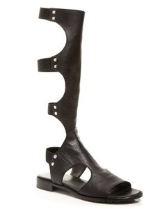 Stuart Weitzman Elastic Ankle Strap Straps At Back Silver-tone Stud Leather Upper Made In Spain Nero Sandals