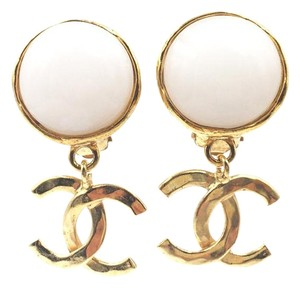 Chanel Chanel Pink Leather Silver CC Piercing Earrings