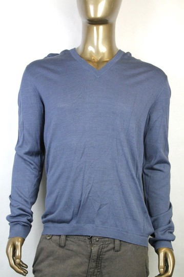 Gucci Dark Blue New Men's Silk V-neck Sweater 3xl 343442 4020 Groomsman Gift Image 1
