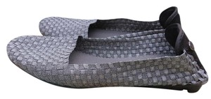 Bernie Mev Demure Slip Ons Size 10 10.5 Woven Fabric Ballet Flats Silver Mules