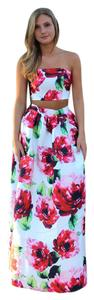 L'ATISTE Floral Maxi Skirt Two Piece Set Ball Gown Skirt Black Tie Dress