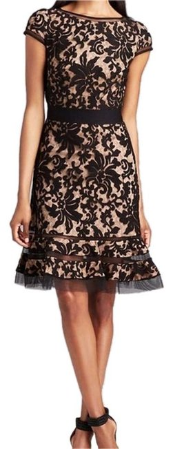 Preload https://item5.tradesy.com/images/tadashi-shoji-black-and-tannude-cap-sleeve-lace-horsewire-above-knee-formal-dress-size-2-xs-20132049-0-1.jpg?width=400&height=650