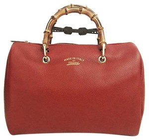 Gucci Boston Bamboo Leather Satchel in Red
