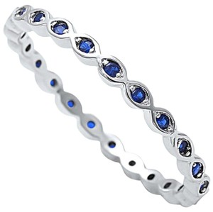 9.2.5 Adorable blue sapphire evil eye band ring size 7
