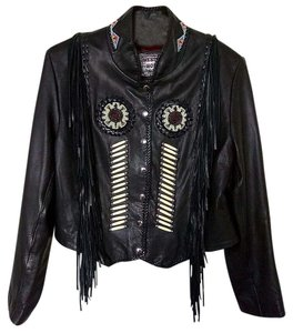 Western World by Shaf Beaded Fringe Leather Jacket