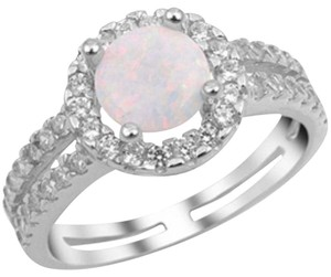 9.2.5 Unique opal and white sapphire halo cocktail ring size 9