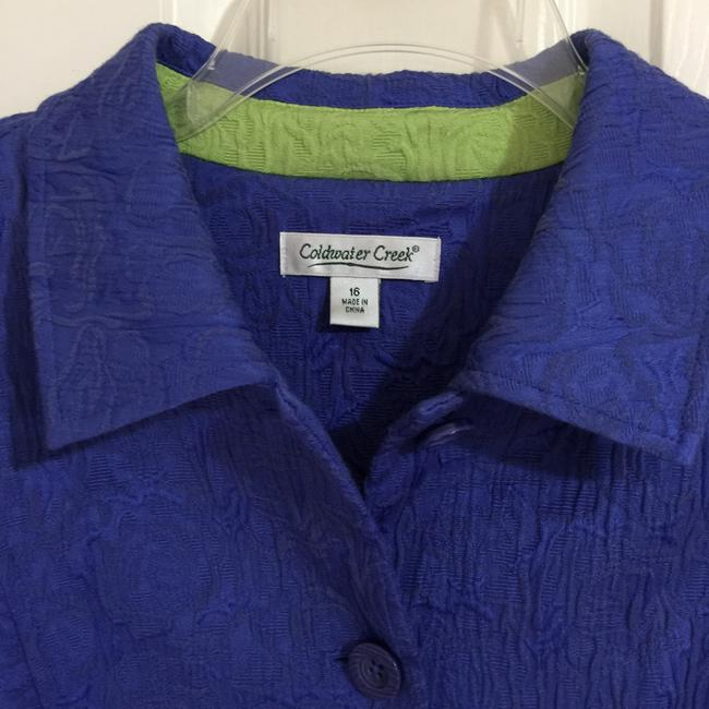 Coldwater Creek Blue Violet Lime Green Blazer Image 2