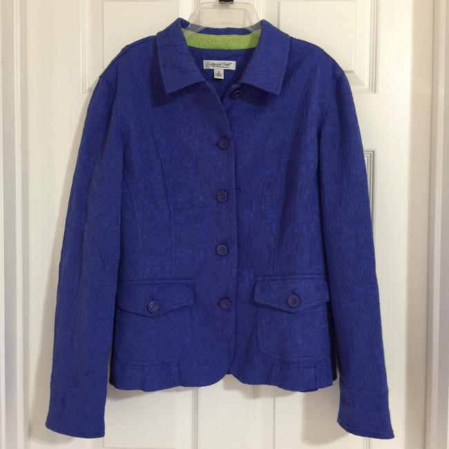 Coldwater Creek Blue Violet Lime Green Blazer Image 5