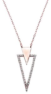 9.2.5 Very unique white sapphire rose gold silver v necklace