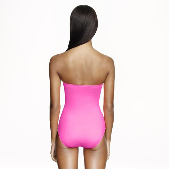 J.Crew J.Crew NEON PINK TIE-FRONT BANDEAU ONE-PIECE SWIMSUIT Size 4