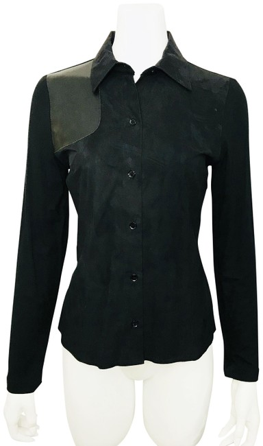 Preload https://img-static.tradesy.com/item/20132276/black-shirt-stretch-faux-suede-blouse-new-vintage-button-down-top-size-6-s-0-3-650-650.jpg