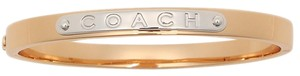 Coach COACH HINGED BANGLE BRACELET F54565 NWT GOLDTONE & WHITE TONE