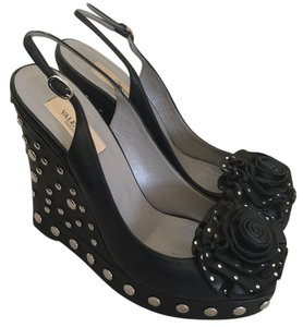 Valentino Black with studs Wedges