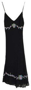 black Maxi Dress by Betsey Johnson Embroidered Colorful Comfortable Silk