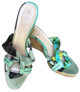 Emilio Pucci Leather Silk Multicolored Sandals