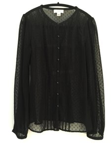 Ann Taylor LOFT Sheer Polka Dot Mesh Button-down Top black