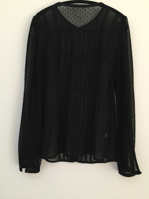 Ann Taylor LOFT Sheer Polka Dot Mesh Button-down Top black Image 2