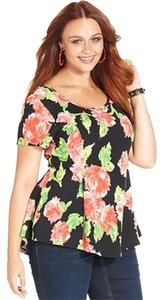 Other Brand New New W/ Out Tags Plus Size Stretch/fitted Peplum 2x 18/20 Top Floral