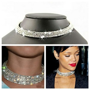Rhinestone crystal Choker necklace Rhinestones Crystal 3 row Choker collar statement necklace, 2017 trend
