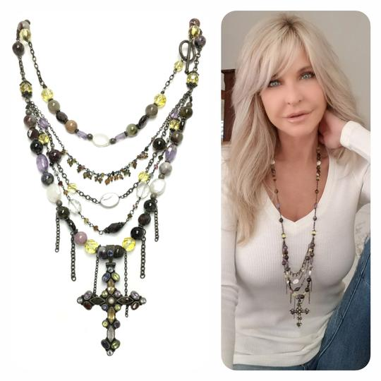 Kinley Sterling silver Multi Strand Cross Kinley Necklace in Tourmaline Image 1