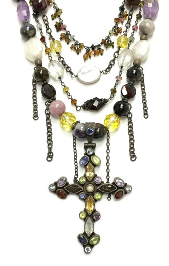 Kinley Sterling silver Multi Strand Cross Kinley Necklace in Tourmaline Image 2