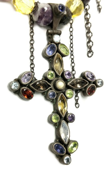 Kinley Sterling silver Multi Strand Cross Kinley Necklace in Tourmaline Image 5