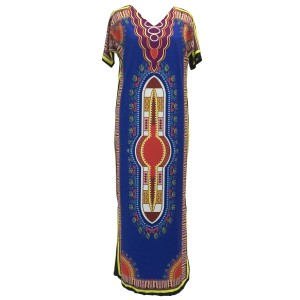 Traditional Blue Dashiki Maxi Dress by Other Maxi Polyester Blend
