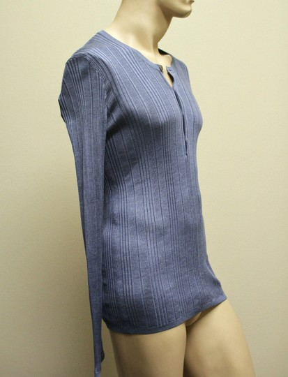 Gucci Blue XL New Buttoned Men's Silk Ribbed Knit Top 260480 Groomsman Gift Image 3