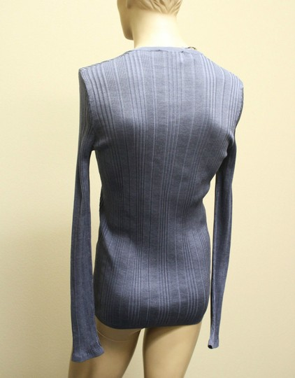 Gucci Blue XL New Buttoned Men's Silk Ribbed Knit Top 260480 Groomsman Gift Image 7
