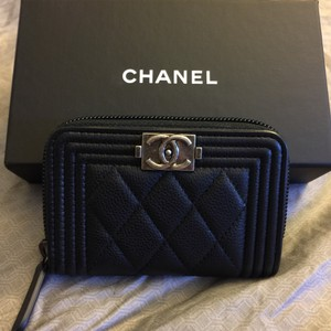 Chanel Brand New BLACK Boy Caviar Coin Purse Card Holder Wallet