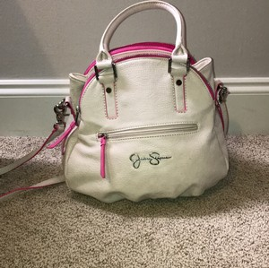 Jessica Simpson Satchel in Off White/hot Pink