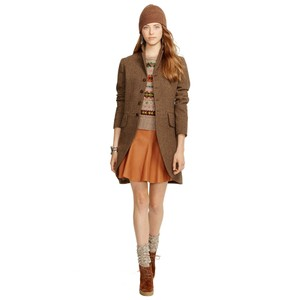 Polo Ralph Lauren Tan Short Luxury Mini Skater Mini Skirt Brown