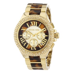 Michael Kors Ladies Camille Tortoise Gold Glitz Chronograph Watch MK5901