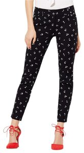 New York & Company Ankle Stretch Black White Print Skinny Pants Black Cherry