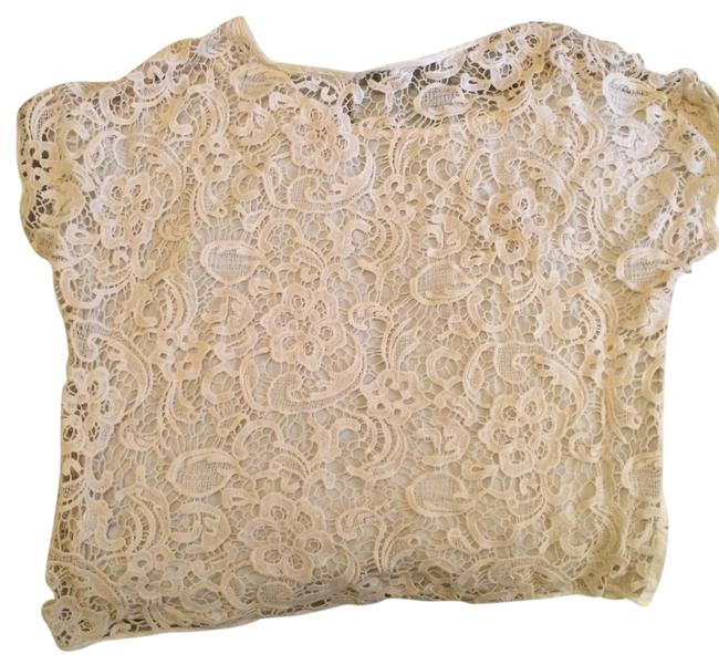 Item - Cream Lace Open Back Tee Shirt Size 12 (L)