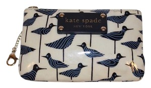 Kate Spade Classic Chic Gold Hardware Navy and White Clutch