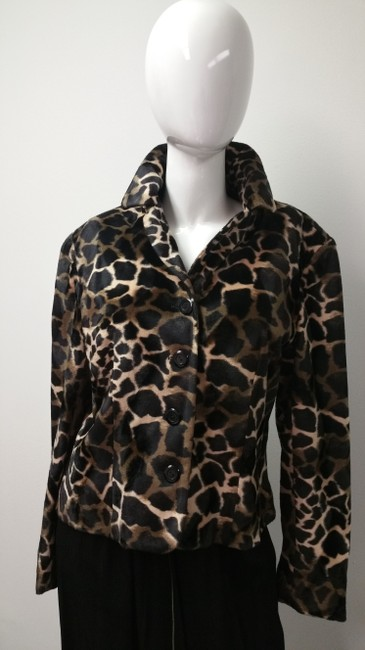 Allison Taylor Leopard Print Vintage Black and Tan Jacket Image 1