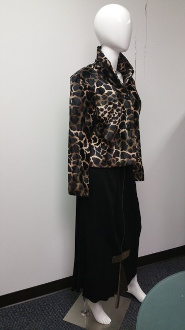 Allison Taylor Leopard Print Vintage Black and Tan Jacket Image 2