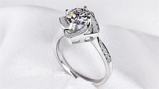 Silver And Aaa Zircon Engagement For Women Ring Image 1