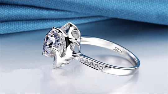 Silver And Aaa Zircon Engagement For Women Ring Image 5
