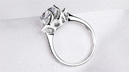 Silver And Aaa Zircon Engagement For Women Ring Image 6