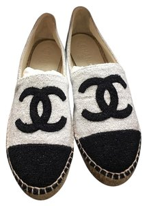 Chanel White Black Silver Shimmer Flats